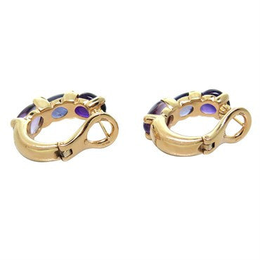thumbnail image of New Pomellato Sassi 18k Gold Amethyst Iolite Earrings