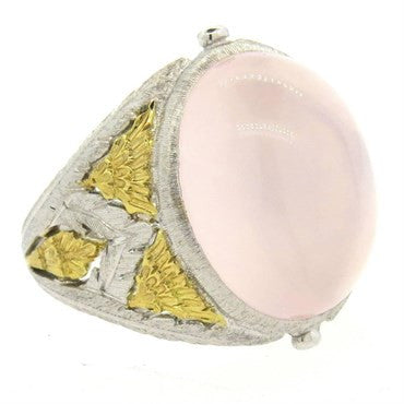 image of Buccellati Rose Quartz Cabochon 18k Gold Dome Ring