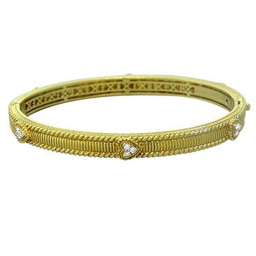 image of Judtih Ripka 18k Gold Diamond Heart Bangle Bracelet