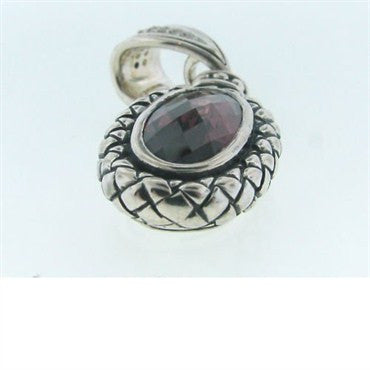 image of Estate Scott Kay Sterling Garnet Diamond Pendant