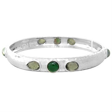 image of New Ippolita Sterling Wonderland Mosaic 8 Gemstone Bangle Bracelet