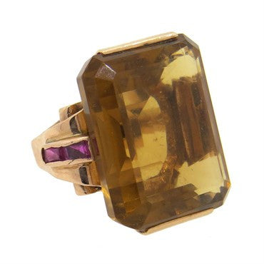 image of 1940s Large Citrine Ruby 14k Rose Gold Ring