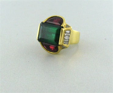 thumbnail image of Vintage H. Stern 18K Gold Green Tourmaline Rubellite Diamond Ring