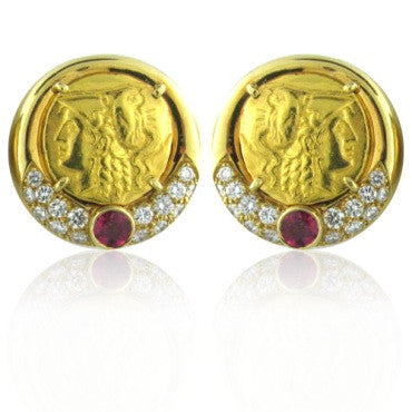 thumbnail image of Vintage Emis Beros 18k Gold Diamond Ruby Coin Earrings