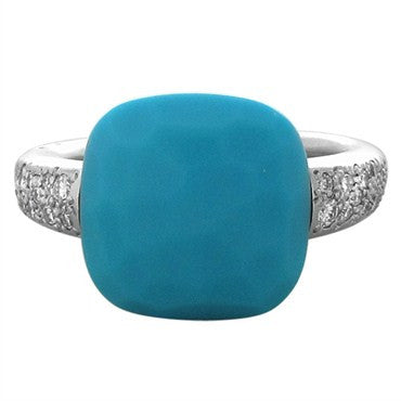 thumbnail image of Pomellato Capri 18K White Gold Turquoise Ring