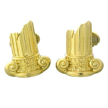 image of Henry Dunay 18k Gold Ancient Ruins Column Motif Cufflinks