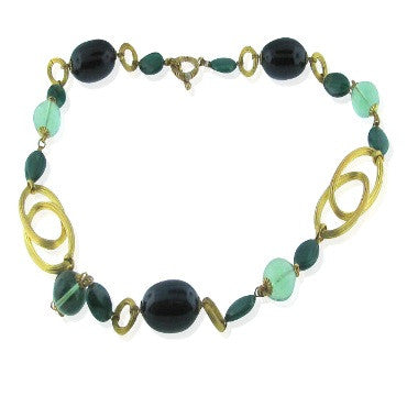 image of Stephen Dweck Malachite Fluorite Agate Bronze Necklace