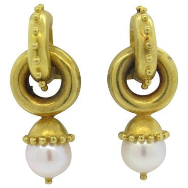 image of Elizabeth Locke Pearl Gold Drop Earrings