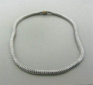 thumbnail image of Estate John Hardy Dot Collection Sterling Silver 18K Gold Necklace