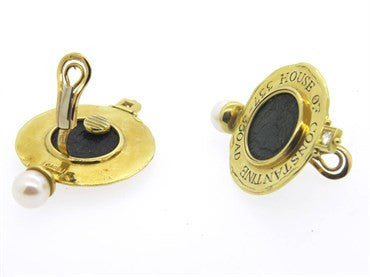 thumbnail image of Large Elizabeth Gage Ancient Coin Diamond Pearl Gold Earrings