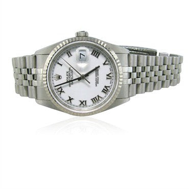 thumbnail image of Men's Rolex Datejust Steel 18K Gold White Roman Dial Watch Ref. 16234