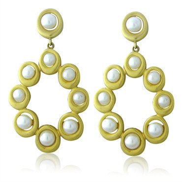 thumbnail image of Slane & Slane 18K Gold Oval Mesh Forward Facing Hoop Pearl Earrings