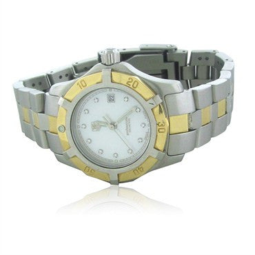 thumbnail image of Tag Heuer Exclusive 2000 SS 18K Gold MOP Diamond Ladies Watch WN1355