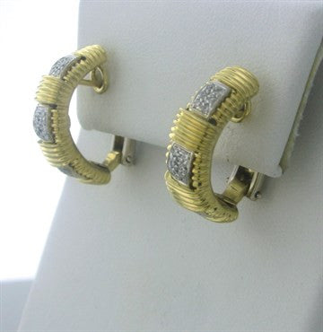 image of Roberto Coin Appassionata 18K Gold Diamond Half Hoop Earrings
