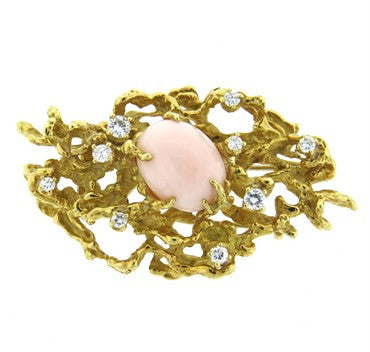 image of Arthur King Diamond Coral 18k Gold Brooch Pin