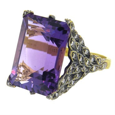 image of Cathy Waterman Peacock Amethyst Diamond Gold Ring