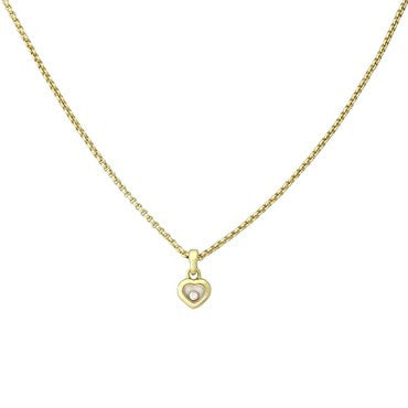 image of Chopard Happy Diamond 18k Gold Floating Heart Pendant Necklace 79 4854