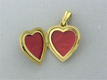 image of Faberge 18K Yellow Gold Diamond Enamel Heart Locket Pendant