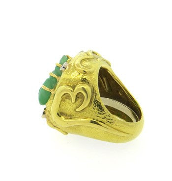 thumbnail image of David Webb Carved Jade 18k Gold Platinum Diamond Cocktail Ring