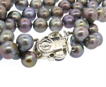 thumbnail image of Seaman Schepps Tahitian Pearl Diamond 18k Gold Two Strand Necklace