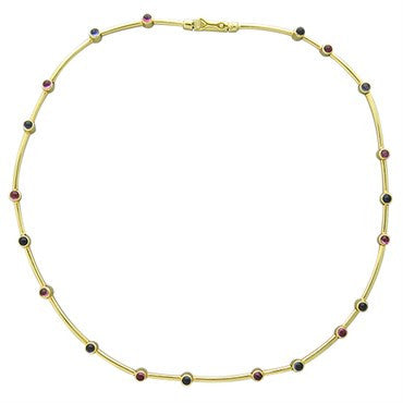 image of Ilias Lalaounis Greece 18k Gold Pink Tourmaline Iolite Necklace