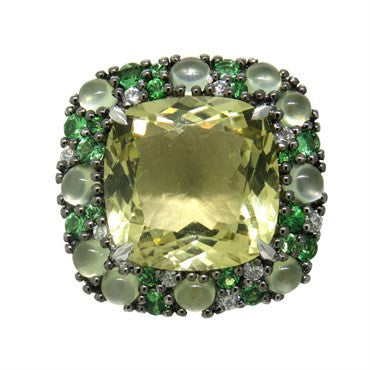 image of Modern Lemon Quartz Tsavorite 18k Gold Ring