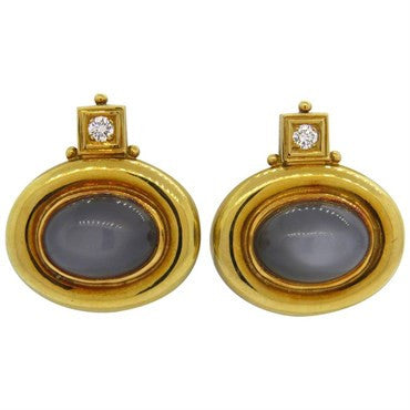 image of Elizabeth Gage Grey Moonstone Diamond 18k Gold Earrings