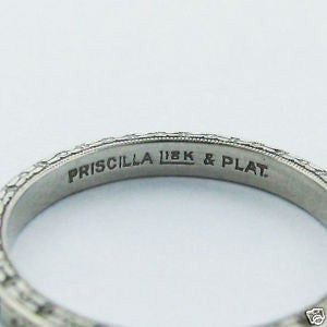 image of Antique Priscilla Art Deco Platinum Wedding Ring Band Size 5.25
