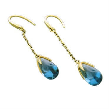 thumbnail image of New Pomellato Veleno 18k Gold Blue Topaz Long Drop Earrings