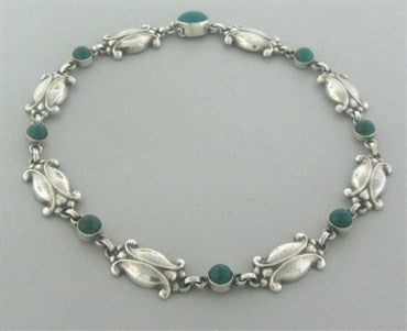 thumbnail image of Georg Jensen Denmark Sterling Silver Chrysoprase Necklace Number 15
