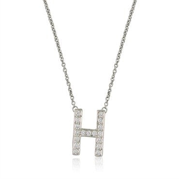 image of Tiffany & Co Platinum Diamond Letter H Pendant Necklace