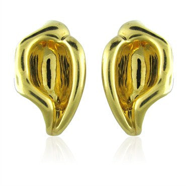 image of Vintage Tiffany & Co Elsa Peretti 18K Yellow Gold Earrings
