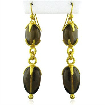 thumbnail image of New Gurhan Star 24K Gold Cognac Citrine Drop Earrings
