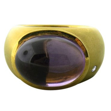 thumbnail image of H Stern 18k Gold Amethyst Cabochon Diamond Ring