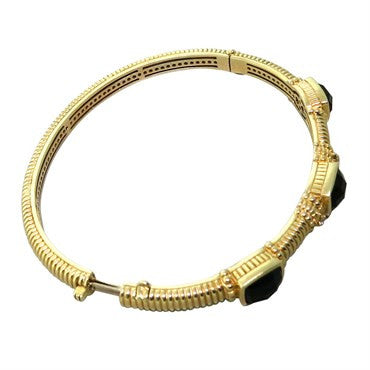 thumbnail image of Judith Ripka 14K Gold Onyx Diamond Bangle Bracelet