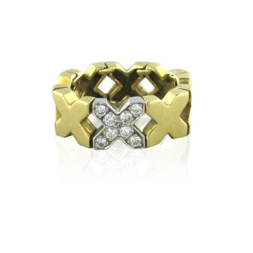 image of Estate Tiffany & Co 18k Yellow Gold Diamond X Ring