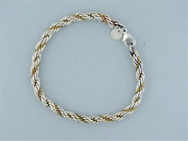 thumbnail image of Tiffany & Co. Sterling Silver 18K Gold Woven Rope Bracelet