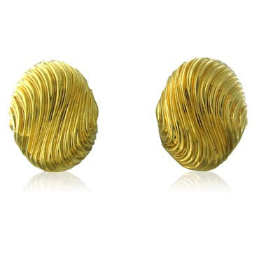image of Estate Henry Dunay 18K Yellow Gold Wave Earrings