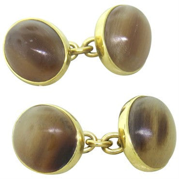 image of Trianon Gold Agate Cufflinks
