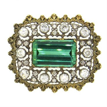 image of Impressive Buccellati Green Tourmaline 3.00ctw Diamond Gold Brooch Pin