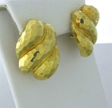 thumbnail image of Estate Henry Dunay 18K Yellow Gold Hammered Finish Earrings