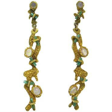 thumbnail image of Funky 1970s Gold Emerald Moonstone Long Drop Earrings