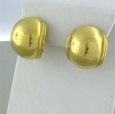thumbnail image of Elizabeth Locke Hammered Finish 18K Yellow Gold Dome Earrings