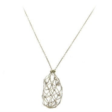 image of Tiffany & Co. Elsa Peretti Crystal Sterling Diamond Caged Bean Pendant