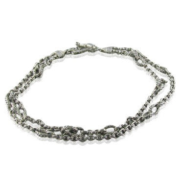 image of New Scott Kay Diamond Sterling Link Necklace