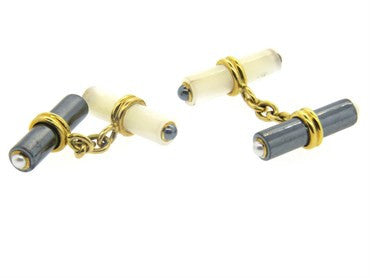 thumbnail image of Trianon Hematite Mother of Pearl 18k Gold Cufflinks