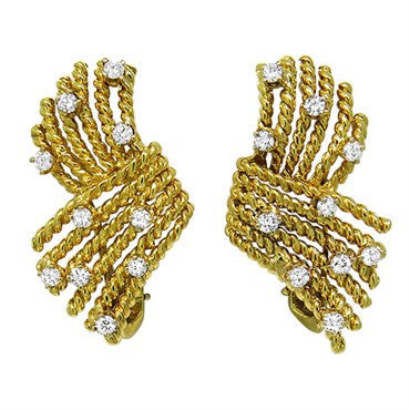 image of Tiffany & Co Schlumberger V Rope 18k Gold Diamond Earrings