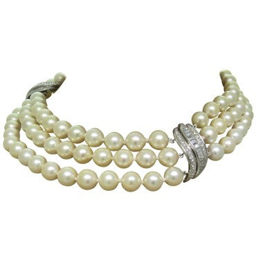 image of 1950s Gold Diamond Pearl Three Strand Cocktail Necklace