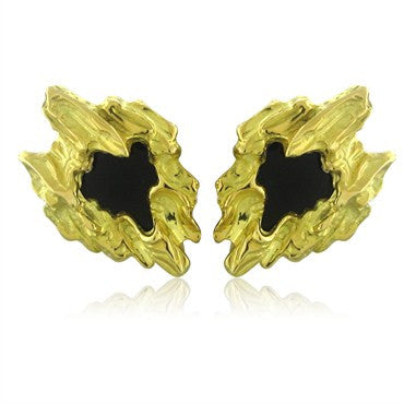 image of Vintage Circa 1970s Funky Gubelin Swiss 18K Gold Onyx Earrings