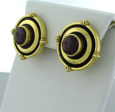 image of Theo Fennell London 18K Gold Rubellite Tourmaline Enamel Earrings